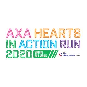 AXA Hearts In Action Run 2020 - Virtual Run Series Logo